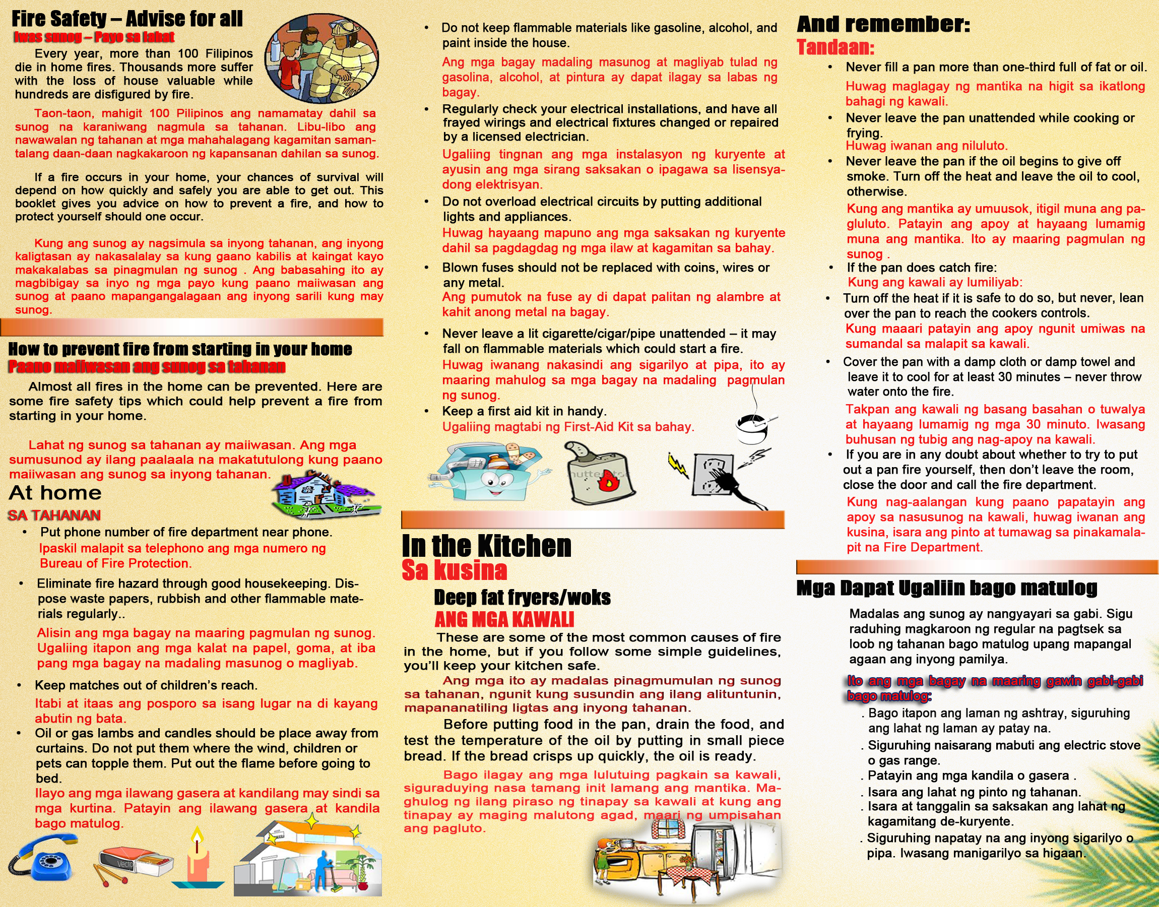 Fire Safety Tips Bureau Of Fire Protection Region 12